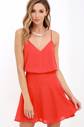 Wanna Bet? Coral Red Sleeveless Dress at Lulus.com!