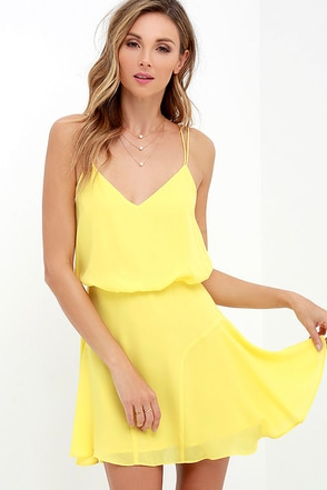 Wanna Bet? Yellow Sleeveless Dress at Lulus.com!