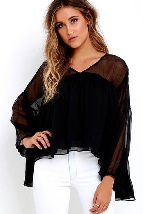 River Ripples Black Long Sleeve Top at Lulus.com!