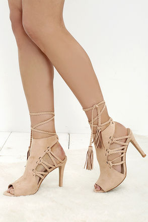 Gypsy Soul Nude Suede Lace-Up Heels at Lulus.com!
