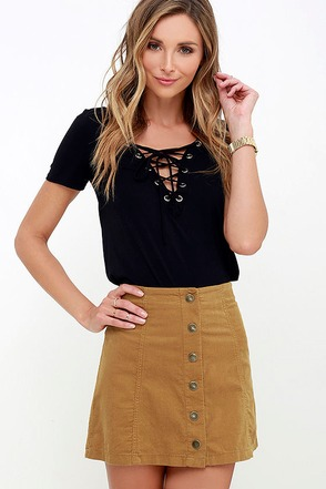 White Crow Austin Tan Corduroy Mini Skirt at Lulus.com!