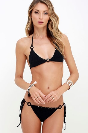 Kismet Black Beaded Crochet String Bikini Bottom at Lulus.com!