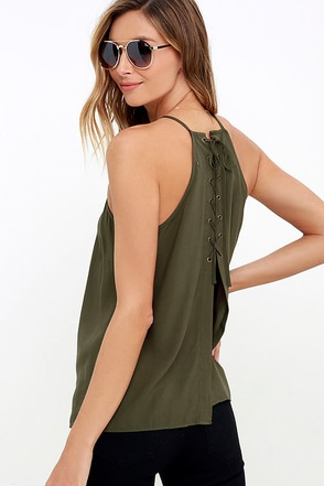 Laced Back Olive Green Lace-Up Top at Lulus.com!