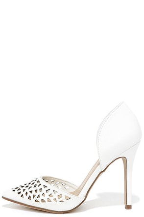Sugar and Slice White Cutout D'Orsay Pumps at Lulus.com!