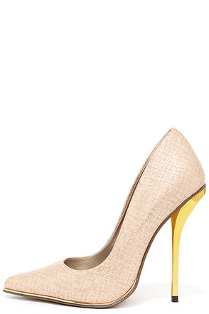 Luichiny Mind Blowing Nude Snakeskin Pumps at Lulus.com!