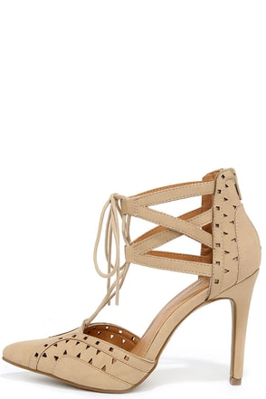 Mia Melonie Nude Lace-Up Pumps at Lulus.com!