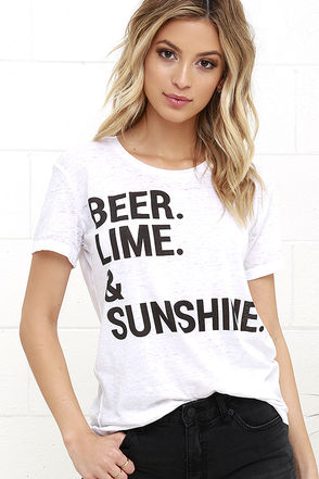 Chaser Beer Lime and Sunshine Ivory Tee at Lulus.com!
