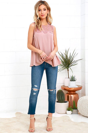 Place in the Sun Mauve Lace Top 1