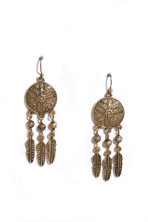 Daydream Catcher Gold Earrings at Lulus.com!