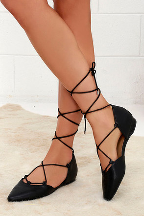 Mia Mirna Black Lace-Up Flats at Lulus.com!
