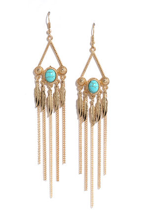 Mighty Jungle Turquoise and Gold Earrings at Lulus.com!