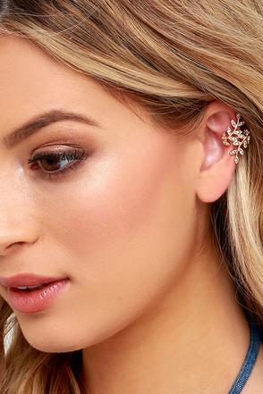 One Vine Day Gold Rhinestone Ear Cuffs at Lulus.com!