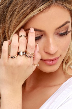 Under Your Charm Gold Ring Set at Lulus.com!