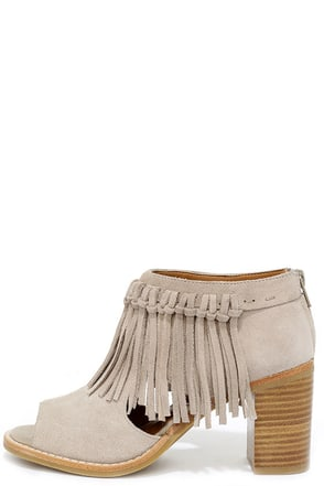 Sbicca Hickory Beige Suede Leather Fringe Ankle Booties at Lulus.com!