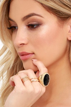 Secret Powers Black and Gold Ring Set at Lulus.com!