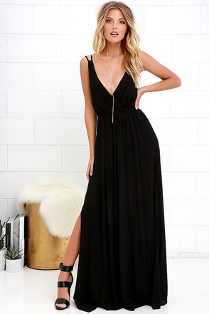 Lost in Paradise Black Maxi Dress 1