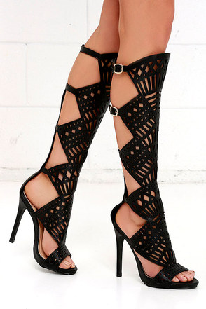 New York Nights Nude Tall Caged Heels at Lulus.com!