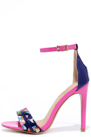 Design Language Pink and Turquoise Ankle Strap Heels at Lulus.com!