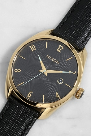 Nixon Bullet Gold and Tan Leather Watch at Lulus.com!