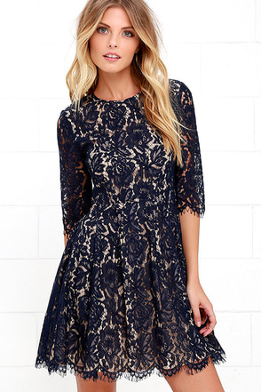 Love Letter Navy Blue Lace Dress at Lulus.com!