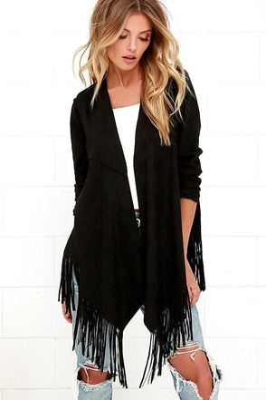 Fringe of Mine Black Suede Jacket at Lulus.com!
