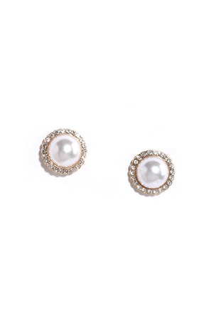 Water World Gold and Pearl Rhinestone Earrings at Lulus.com!