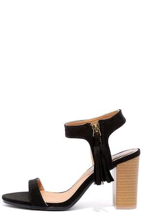 Tassel Time Black Suede High Heel Sandals at Lulus.com!