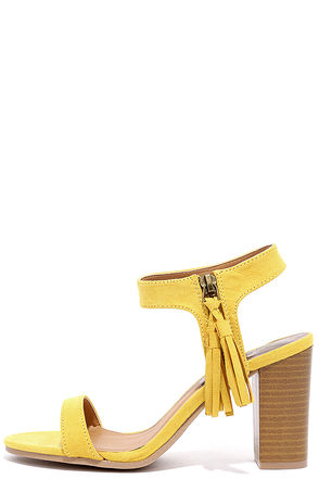 Tassel Time Yellow Suede High Heel Sandals at Lulus.com!