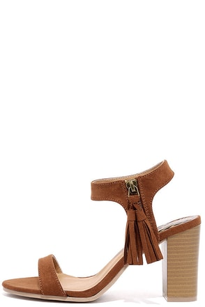 Tassel Time Dark Rust Suede High Heel Sandals at Lulus.com!