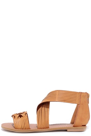 Weave it Be Camel Flat Sandals at Lulus.com!