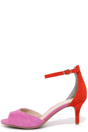 Seychelles Hazel Fuchsia and Red Suede Leather Ankle Strap Heels at Lulus.com!