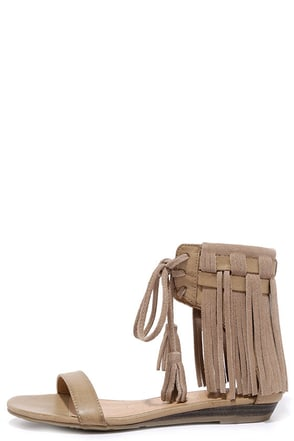 Very Volatile Aubrey Taupe Suede Leather Fringe Sandals at Lulus.com!