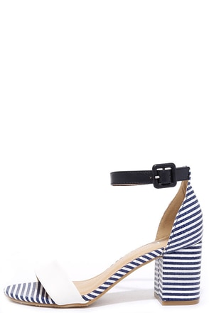 CL by Laundry Jody White and Navy Striped Heels at Lulus.com!