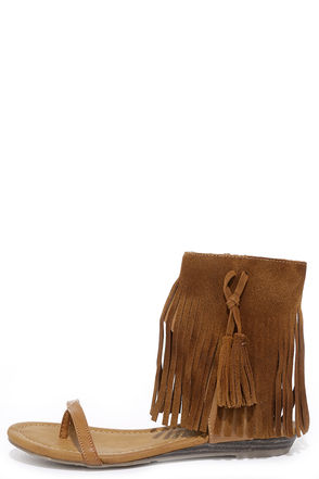 Very Volatile Lex Tan Suede Leather Fringe Sandals at Lulus.com!