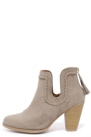 South Bound Taupe Suede Ankle Booties at Lulus.com!