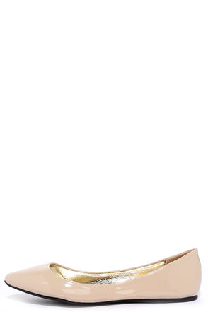 Try a Little Tenderness Nude Patent Pointed Flats at Lulus.com!