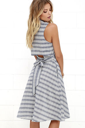 Oui Found Love Denim Blue Striped Midi Dress at Lulus.com!