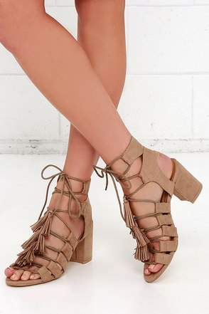 Coconuts Copa Natural Suede Lace-Up Heels at Lulus.com!
