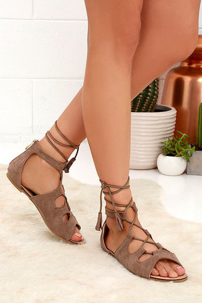 U.R.A.Q.T. Taupe Suede Lace-Up Flat Sandals at Lulus.com!
