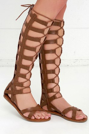 Mia Devi Cognac Tall Gladiator Sandals at Lulus.com!