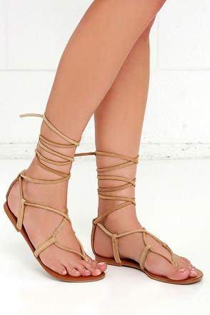 Steve Madden Werkit Tan Suede Leather Leg Wrap Sandals at Lulus.com!
