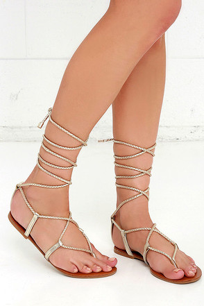 Steve Madden Werkit Gold Leather Leg Wrap Sandals at Lulus.com!