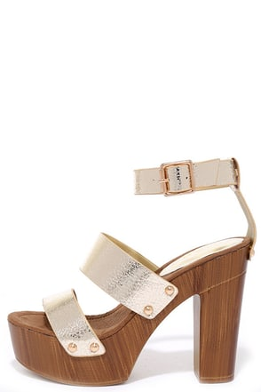 Goodness Gracious Gold Platform Heels at Lulus.com!