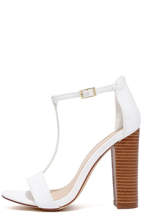 There and Everywhere White T-Strap High Heel Sandals at Lulus.com!