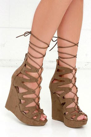 Perfect Form Taupe Suede Lace-Up Platform Wedges at Lulus.com!