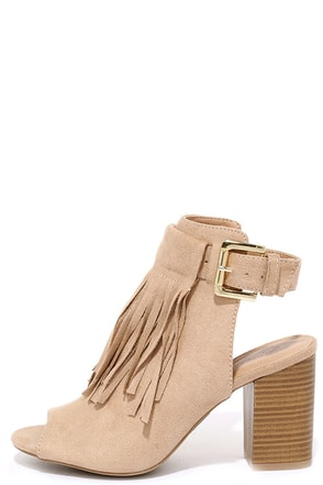 Lioness Natural Suede Fringe Booties at Lulus.com!