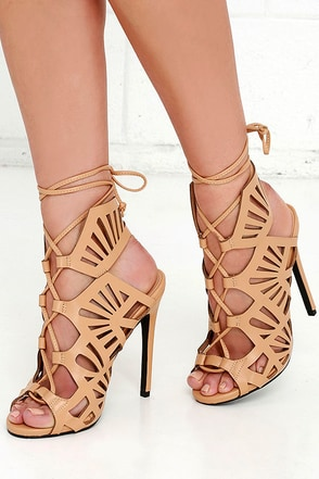 Privileged Stewart Nude Cutout Lace-Up Heels at Lulus.com!