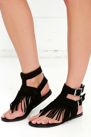 Rare Find Black Suede Fringe Sandals at Lulus.com!