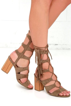 Spartacus Taupe Suede Lace-Up Heels at Lulus.com!