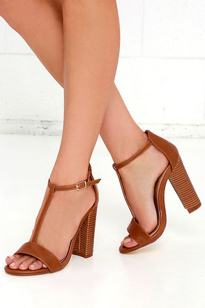There and Everywhere Cognac T-Strap High Heel Sandals at Lulus.com!